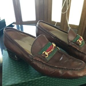 Gucci vintage horse bit brown leather loafers